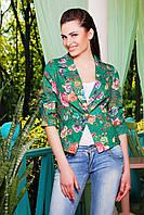 Женский летний короткий жакет зеленый с цветами пиджак Жако