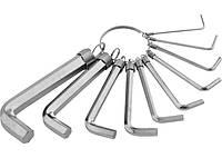 Набор ключей имбусовых HEX, 1,5–10 мм, CRV, 10 шт., никелированный, на кольце SPARTA 112685