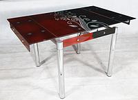 Стол стеклянный обеденный ТВ21 черно-рубиновый 80/130х65х75 см