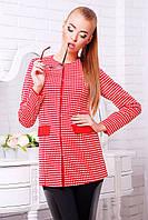 Клетчатый женский пиджак без воротника красный Шанэль
