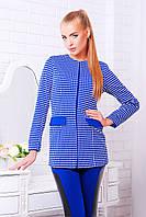 Клетчатый женский пиджак без воротника электрик синий Шанэль