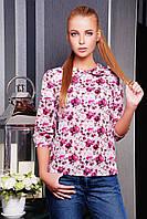 Креп-шифоновая блузка с цветочным принтом Пионы блуза Тамила1 д/р