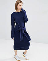 Стильное платье из синего трикотажа с рукавами завязывающимися на талии Хит осень-зима 2016-2017