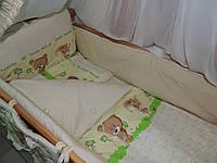 Детское постельное бельё в кроватку бежевое Лесные звери, фото 1