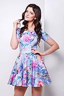 Короткое летнее голубое платье из цветного жаккарда сукня Милава к/р