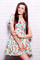 Летнее приталенное платье в цветок с расклешенной юбкой сукня Милава2 к/р