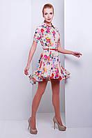 Летнее платье с коротким рукавом ассиметричным низом и поясом сукня Розмари к/р