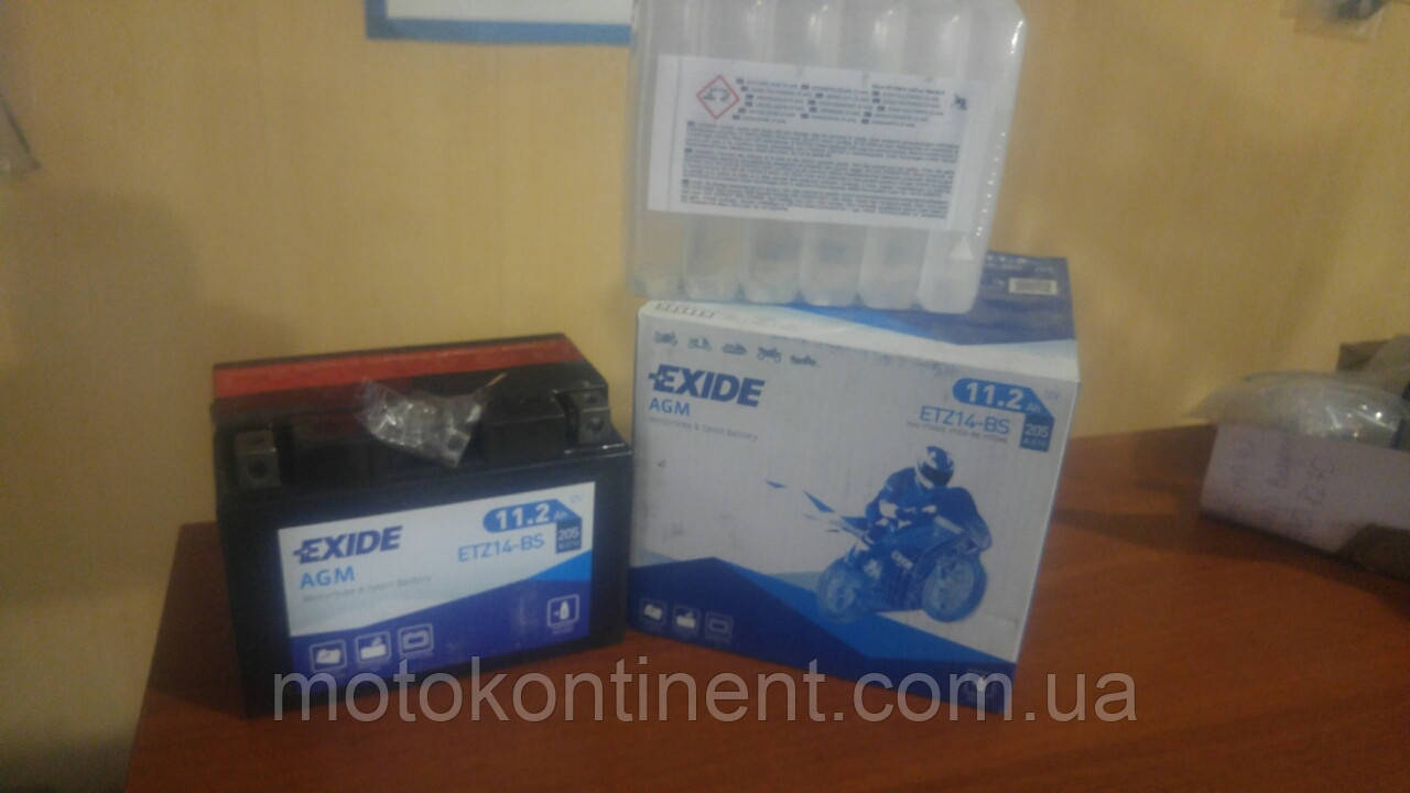 Аккумулятор для мотоцикла AGM 11,2Ah 205A EXIDE ETZ14-BS = YTZ14-BS 11,2 Ah 150x87x110