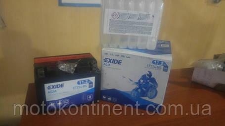 Аккумулятор для мотоцикла AGM 11,2Ah 205A EXIDE ETZ14-BS = YTZ14-BS 11,2 Ah 150x87x110, фото 2