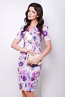 Летнее платье до колена с фиолетовыми цветами сукня Энжи к/р