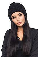 Чёрная тёплая женская шапка (50% шерсть, 50% акрил) / Шапка 1044