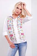 Блузка белого цвета с цветами на полочке Полевые цветы блуза Ларси д/р