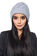 Женская осенняя шапка серая (50% шерсть, 50% акрил) / Шапка 1046