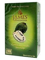 Чай зеленый JAMES с саусепом упаковка 100гр (40шт*1ящ)