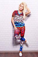 Женский летний спортивный костюм Разноцветный леопард Леся1
