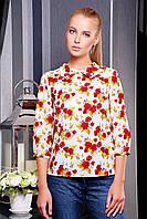 Белая блузка Роза красная блуза Тамила1 д/р