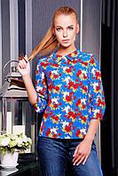 Блузка синего цвета с яркими цветами Роза красная блуза Тамила1 д/р