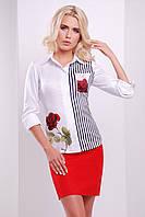 Белая блузка Розы полоска блуза Ларси д/р