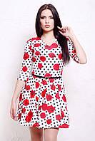 Платье в горох с приталенным лифом и клешеной юбкой Розы-горох мелкий сукня Мая д/р