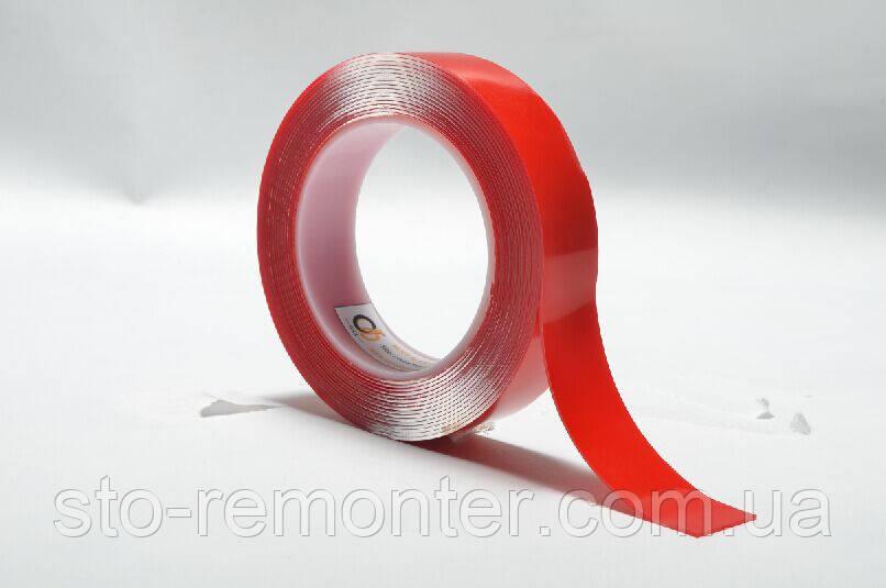 Двухсторонний скотч пеноакриловый (двухсторонняя клейкая лента), толщина 0,8 мм, ширина 25 мм, длина 2м.
