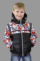 Куртка для мальчика демисезонная 2в1 (куртка/жилетка) Майкл на рост 110 см, цвета в ассорт., фото 1