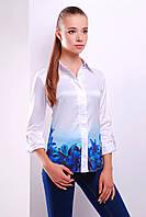 Модная женская белая рубашка с цветами Синие лилии блуза Ларси д/р
