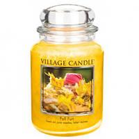 """Ароматическая свеча в стекле Village Candle """"Осенний праздник"""". 740 гр/ 170 часов"""