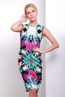 Летнее платье без рукавов с принтом Тропики сукня Калея-1 б/р