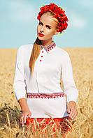 Женская белая блузка вышиванка с национальным принтом Узор красный блуза Василиса д/р