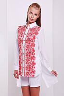 Длинная белая женская рубашка Узор красный блуза Джована д/р