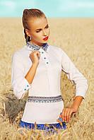 Белая блуза с принтом в виде орнамента вышиванка Узор синий блуза Василиса д/р