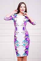 Платье футляр с ярким принтом Фиолетовые розы сукня Лоя-1Ф д/р