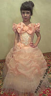 Блестящее персиковое детское платье на 5-9 лет