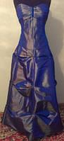 V.16 Корсет + юбка из синей парчи-хамелеона, выпускной, свадьба, размер 48