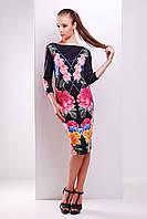 Платье-футляр длиной ниже колена с цветочным принтом Цветочный сад сукня Лоя-1Ф д/р