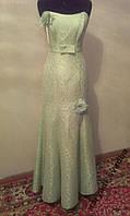 V.56 Салатовое вечернее платье с цветами, бедровка, размер 44