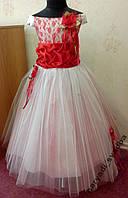 Шикарное кремово-красное детское платье на 5-8 лет