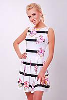Белое летнее платье без рукавов Цветы-полоска сукня Мия-1 б/р