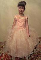 NEW!!! Пышное персиковое детское платье на 5-7 лет