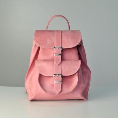 b76f705a4a3f Женский кожаный рюкзак JIZUZ Tulip Bubblegum розовый - Интернет магазин