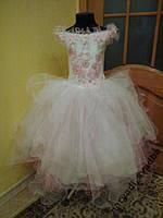 NEW! Воздушное бело-розовое детское платье на 5-7 лет