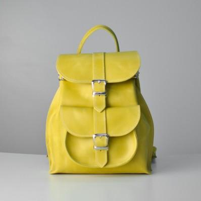 e7bf0a435cec Женский кожаный рюкзак JIZUZ Tulip Lemon желтый - Интернет магазин