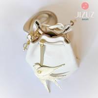 Женская кожаная сумка Jizuz Cross milk молочная