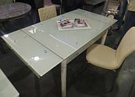 Стол стеклянный кухонный ТВ21 кремовый  80/130х65х75 см