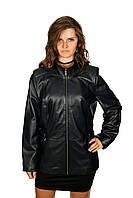 Удлиненная куртка темно-синяя из натуральной кожи , фото 1