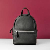 Женский кожаный рюкзак Sport Black черный