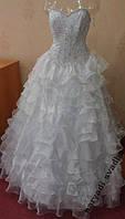 Нежное белое свадебное платье с кристаллами Swarovski, размер 38-42 (б/у)