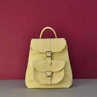 fe868883677d Женский кожаный JIZUZ Tulip Emerald зеленый. Promo. Кожаный рюкзак Сlassik  Lemon желтый