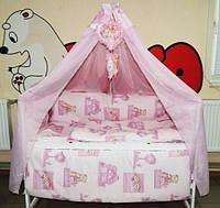 Детское постельное бельё Мишки домики розовый Bonna Комфорт