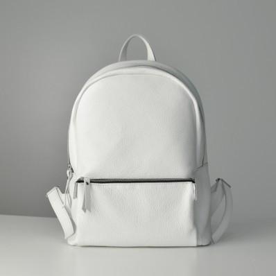 8e721988d4ef Женский кожаный рюкзак Pilot белый - Интернет магазин